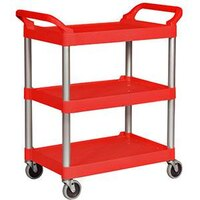 Rubbermaid 3424-88 Red Three Shelf Utility Cart / Bus Cart 33 x 18 x 37 (FG342488)