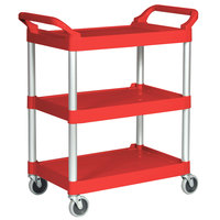 Rubbermaid 3424-88 Red Three Shelf Utility Cart / Bus Cart 33 x 18 x 37 (FG342488RED)