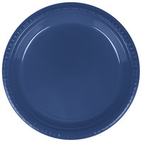 Creative Converting 28113721 9 inch Navy Blue Plastic Dinner Plate - 240 / Case