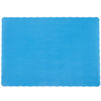 10 inch x 14 inch Sky Blue Colored Paper Placemat with Scalloped Edge - 1000 / Case