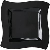 "Fineline Wavetrends 109-BK 9 1/2"" Black Plastic Square Plate - 10/Pack"