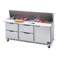 Beverage-Air SPED72-24M-4 72 inch Mega Top Refrigerated Salad / Sandwich Prep Table with One Door and Four Drawers
