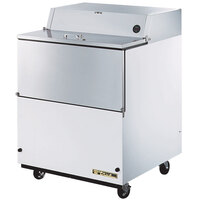 True TMC-34-SS 34 inch White One Sided Milk Cooler with Stainless Steel Interior