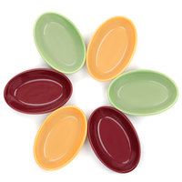 Tuxton DYK-0803 Dura Tux Assorted Colors 8 oz. 6 1/2 inch x 4 3/8 inch Oval Nesting Baker 12/Case