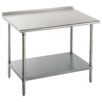 16 Gauge Advance Tabco FAG-244 24 inch x 48 inch Stainless Steel Work Table with Undershelf and 1 1/2 inch Backsplash