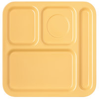 Carlisle 4398422 10 inch x 9 3/4 inch Honey Yellow Melamine Right Hand 4 Compartment Tray