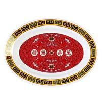 Longevity 14 1/8 inch x 10 5/8 inch Oval Melamine Deep Platter - 12/Pack