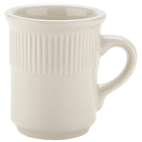 8 oz. Ivory (American White) Embossed Rim China Mug   - 36/Case