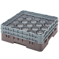 Cambro 20S318167 Camrack 3 5/8 inch High Brown 20 Compartment Glass Rack
