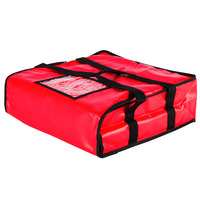 Choice 18 inch x 18 inch x 5 inch Red Vinyl Insulated Pizza Delivery Bag - Holds up to (2) 16 inch or (1) 18 inch Pizza Boxes