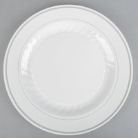 "WNA Comet MP10WSLVR 10 1/4"" White Masterpiece Plastic Plate with Silver Accent Bands   - 120/Case"