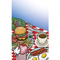 8 1/2 inch x 14 inch Menu Paper - Diner Theme Cover - 100 / Pack