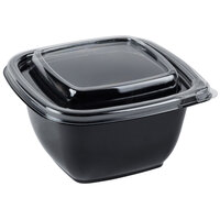 Sabert C95012TR250 Bowl2 12 oz. Black PETE Square Tamper Evident Bowl with Lid - 250 / Case