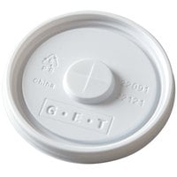 GET LID-22091-W Disposable White Plastic Lid with Straw Slot for 3 1/4 inch Diameter Tumblers 1000 / Case