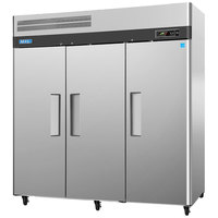 Turbo Air M3R72-3 78 inch M3 Series Three Section Solid Door Reach in Refrigerator - 72 Cu. Ft.