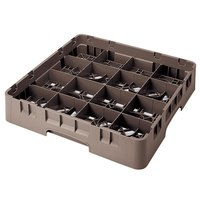 Cambro 16S434167 Camrack 5 1/4 inch High Brown 16 Compartment Glass Rack