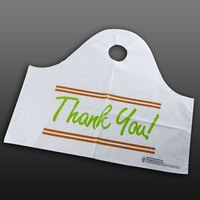 Plastic Thank You 21 inch x 10 inch x 18 inch Take Out Bag with Wave Handle - 500 / Box