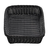 Tablecraft M2493 Black Rectangular Rattan Basket 19 inch x 14 inch x 4 inch - 6/Pack