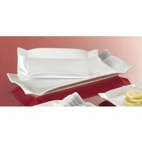 CAC TMS-13 Times Square 12 1/2 inch x 6 inch Bright White China Rectangular Platter - 12/Case