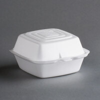 Dart Solo 50HT1 5 inch x 5 inch x 3 inch White Foam Hinged Lid Container 125 / Pack