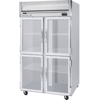 Beverage Air HR2-1HG-LED 2 Section Glass Half Door Reach-In Refrigerator - 49 cu. ft., SS Front, Gray Exterior