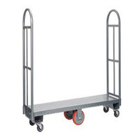 Winholt 300-60D / PU U-Boat 16 inch x 63 inch Heavy Duty Utility Cart with Diamond Steel Deck and Polyurethane Wheels - 2000 lb. Capacity