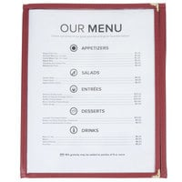 8 1/2 inch x 11 inch Three Pocket Clear Fold Over Menu Cover - Burgundy