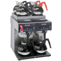 Bunn 23400.0011 CWTF 4/2 Twin 12 Cup Automatic Coffee Brewer with 4 Upper and 2 Lower Warmers - 120/240V