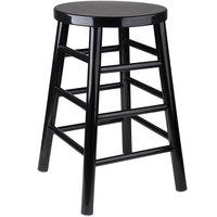 Lancaster Table & Seating Spartan Series 24 inch Black Metal Woodgrain Counter Height Stool