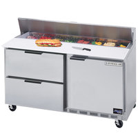 Beverage-Air SPED60-08C-2 60 inch Refrigerated Salad / Sandwich Prep Table with One Door and Two Drawers - Cutting Board Top