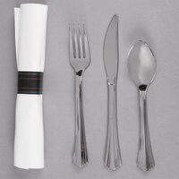 "WNA Comet REFROLL3 Reflections 17"" x 17"" Wrapped Linen-Feel White Napkin and Stainless Steel Look Heavy Weight Plastic Cutlery Set - 30/Pack"