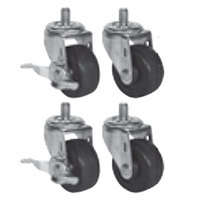 Beverage Air 61C01-013A 3 inch Replacement Casters for H Series, P Series, DP 46, 67, and 93, and 32 inch Deep Undercounter / Worktop Units - 4 / Set