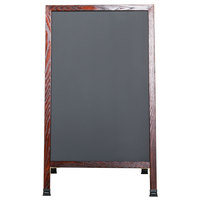 Aarco 42 inch x 24 inch Cherry A-Frame Sign Board with Black Write On Chalk Board