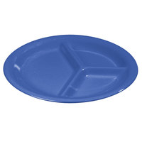Carlisle 3300014 10 1/2 inch Ocean Blue Sierrus 3 Compartment Narrow Rim Dinner Plate - 12 / Case
