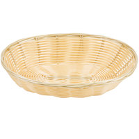 Choice 9 inch x 7 1/4 inch x 2 3/4 inch Oval Natural-Colored Rattan Basket - 12/Case