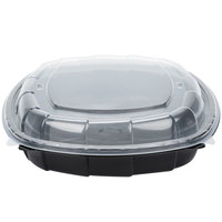 64 oz. Black 10 inch x 10 inch x 3 inch Square Microwaveable Plastic Hinged Take-Out Container - 148 / Case