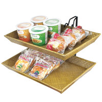 Cal-Mil 1290-2 Iron Two Tier Wire Merchandiser with Bamboo Trays - 18 inch x 15 inch x 15 inch