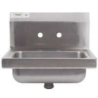 Regency 17 inch x 15 inch Wall Mounted Hand Sink for Gooseneck Faucet