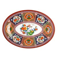 Peacock 16 inch x 11 5/8 inch Oval Melamine Platter - 12 / Pack