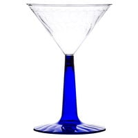 Fineline Flairware 2306-BL 6 oz. Plastic Martini with Cobalt Blue Base - 2 Piece 96 / Case