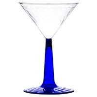 Fineline Flairware 2306-BL 6 oz. Plastic Martini with Cobalt Blue Base - 96/Case