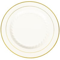Fineline Silver Splendor 510-BO 10 inch Bone White Plastic Plate with Gold Bands - 120 / Case