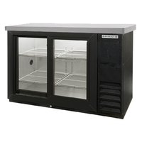 "Beverage Air BB48GSY-1-B-27-LED 48"" Black Back Bar Refrigerator with Sliding Glass Doors and Stainless Steel Top - 115V"