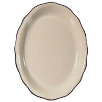 CAC SC-13B 11 Seville 5/8 inch x 8 1/2 inch American White (Ivory / Eggshell) Scalloped Edge China Platter with Black Band - 12/Case