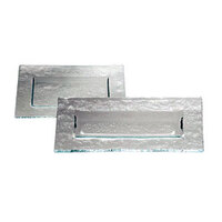Service Ideas Tuscany Glass Eco-Line 9509 13 3/4 inch x 8 1/4 inch Clear Rectangular Plate with Green Tint 6/Case