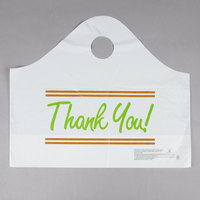 Plastic Thank You 16 1/2 inch x 6 inch x 14 inch Take Out Bag with Wave Handle - 500/Box