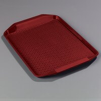 Carlisle CT121705 Customizable Cafe 12 inch x 17 inch Red Handled Plastic Fast Food Tray - 12 / Case