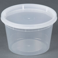 16 oz. Microwavable Translucent Plastic Deli Container with Lid - 240/Case