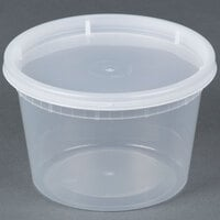 16 oz. Microwavable Translucent Plastic Deli Container with Lid - 240 / Case
