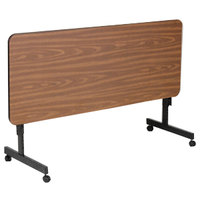 Correll EconoLine FT2448M 24 inch x 48 inch Walnut Melamine Top Mobile Flip Top Adjustable Height Table